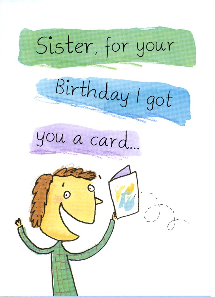 . retail each  birthday sister funny pkd, Birthday card