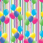FW1001 - Birthday Balloons Flat Wrap pkd in 6's