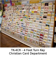 TK-4CRA- Turn-Key of 4 Feet of Premium Christian Greeting Cards complete with an attractive 4' Card Rack