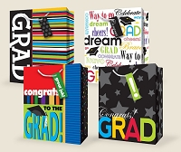 GBLG01 - Graduation Large Gift Bag Assort - 50% off wholesale - 48 total
