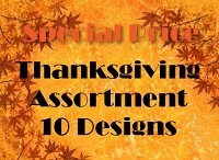 THG10 - 10 designs Thanksgiving Cards PKD 6 -  25% addirional discount at check-out