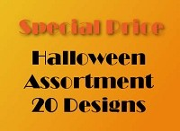 20 designs Halloween Cards packed 6 - wholesale less 25%