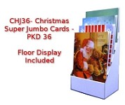 CHJ36 - $8.00 Retail discounted to $2.77 each - Super Jumbo Christmas Cards - PKD 36