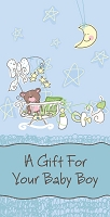 Baby0003 - $2.80 Retail Each - New Baby Boy Money Holder Greeting Cards - English Language - value - wholesale units of 6 cards