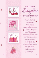 val11021 - $2.80 Retail Each - Valentine's Day Daughter Greeting Cards - English Language - wholesale units of 6 cards