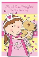 val11022 - $2.80 Retail Each - Valentine's Day Daughter Greeting Cards - English Language - wholesale units of 6 cards