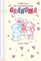 val11032 - $2.80 Retail Each - Valentine's Day Grandmother Juvenile Greeting Cards - English Language - wholesale units of 6 cards