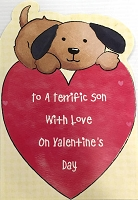 val11039 - $2.80 Retail Each - Valentine's Day Son Juvenile Greeting Cards - English Language - wholesale units of 6 cards