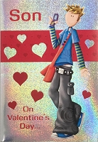val11040 - $2.80 Retail Each - Valentine's Day Son Juvenile Greeting Cards - English Language - wholesale units of 6 cards