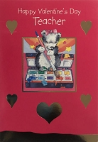 val11044 - $2.80 Retail Each - Valentine's Day Teacher Juvenile Greeting Cards - English Language - wholesale units of 6 cards