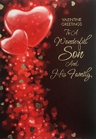 val11049 - $2.80 Retail Each - Valentine's Day Son & Family Greeting Cards - English Language - wholesale units of 6 cards