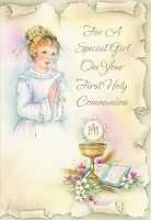 CCGC027 - $2.80 Retail Each - Communion Girl Greeting Cards - Value cards - wholesale units of 6 cards