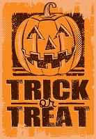 HAL08 - $2.80 Retail Each - Halloween Trick or Treat Greeting Cards PKD 3