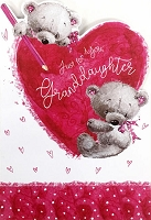 val11013 - $3.99 Retail Each - Valentine Granddaughter Juvenile Greeting Cards - English Language - wholesale units of 3 cards