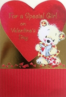 val11000 - $3.99 Retail Each - Valentine Juvenile Girl Greeting Cards - English Language - wholesale units of 3 cards