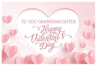 val11079 - $3.99 Retail Each - Valentine's Day Granddaughter Greeting Cards - English Language - Premium - wholesale units of 3 cards