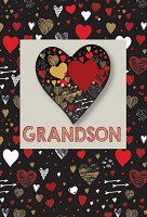 val11090 - $3.99 Retail Each - Valentine's Day Grandson Teen Greeting Cards - English Language - Premium - wholesale units of 3 cards