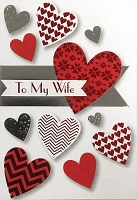 val11094 - $3.99 Retail Each - Valentine's Day Wife Greeting Cards - English Language - Premium - wholesale units of 3 cards