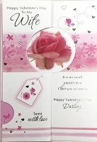 val11007 - $3.99 Retail Each - Valentine Wife Greeting Cards - English Language - wholesale units of 3 cards