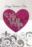 val11017 - $5.99 Retail Each - Valentine Wife Greeting Cards - English Language - wholesale units of 3 cards