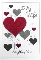val11122 - $5.99 Retail Each - Valentine's Day Wife Greeting Cards - English Language - Premium - wholesale units of 3 cards