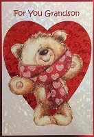 val11124 - $5.99 Retail Each - Valentine's Day Grandson Greeting Cards - English Language - Premium - wholesale units of 3 cards