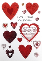 val11126 - $5.99 Retail Each - Valentine's Day Love Feminine Greeting Cards - English Language - Premium - wholesale units of 3 cards