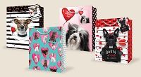 VGB009 - $4.49 Retail each - Valentine's Day Large Puppy Gift Bag Assortment - wholesale units of 48 Large Gift bags