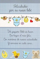 6705 - $2.80 Retail Each Wrapped Spanish Cards - Baby Boy Congratulations PKD 6