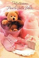 6707 - $2.80 Retail Each Wrapped Spanish Cards - Baby Girl Congratulations PKD 6