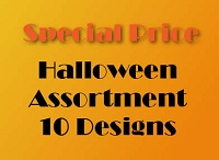 10 designs Premium Halloween Greeting Cards packed 3 -