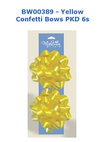 BW006 - Yellow Confetti Bows - 2 pack - PKD 12