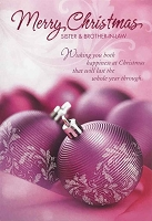 CH284 - $3.99 Retail Each - Christmas Sister & Brother-in-Law Greeting Card - PKD 6