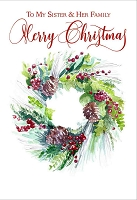 CH285 - $3.99 Retail Each - Christmas Sister & Family Greeting Card - PKD 6