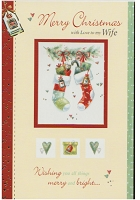 9582A - $3.49 Retail Each - Christmas Wife Greeting Cards PKD 6