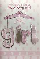 HM003 - $4.40 Retail Each - Baby Girl Handmade Greeting Cards - PKD 6