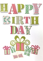 HM048 - $4.40 Retail Each - Birthday Feminine Handmade Greeting Cards - PKD 6