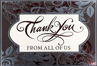 4242 - $5.99 Retail each - Premium Thank You from All Card - Pkd 3's