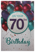 3403 - $5.99 Retail Each - Birthday Age 70 Greeting Card - PKD 3