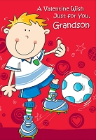 7872 - $3.99 Retail Each - Premium Valentine's Day Grandson Juvenile Greeting Card - PKD 3's