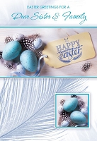 EA445 - $3.99 Retail Each - Premium Easter Sister & her Family Greeting Card PKD 3