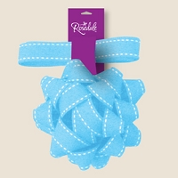 BW031 - $2.99 Retail each, Premium Pastel Blue Fabric Bow with Ribbon - PKD 12