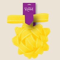 BW035 - $2.99 Retail each, Premium Yellow Fabric Bow with Ribbon - PKD 12