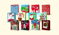 CGB38 - Small Christmas Gift Bags - Assortment - 12 Designs - pkd 12's per design - 144 gift bags total