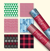 CRW12 - Metallic Christmas Roll Wrap Assortment - paper foil - holographic - 48 rolls - 4 designs - 30