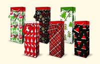 CGB19 - Christmas Bottle Gift Bag Assortment - 6 Designs - pkd 12's per design - Discounted 20%