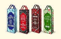 CGB20 - Christmas Printed Non-Woven Bottle Gift Bag Assortment - 4 Designs - pkd 18 per design - Discounted 20%