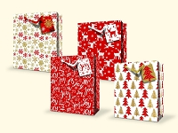 CGB30 - Large Christmas Gift Bags - Glitter - 4 Designs - pkd 12's per design