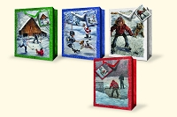 CGB44 - Large Christmas Gift Bags - Assortment - Glitter - Winter Games - 4 Designs - pkd 12's per design