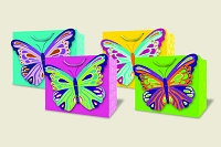 PR1005 - Premium Horizontal Bright Butterfly Gift Bag  Assort - 48 in assortment - 12 each of 4 designs